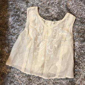 White iridescent cropped top NEW